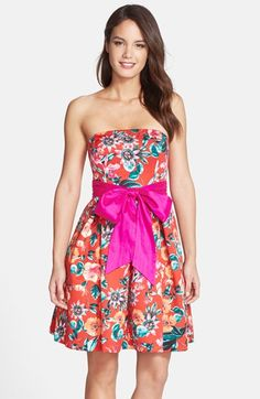 Eliza J Floral Print Strapless Fit & Flare Dress available at #Nordstrom