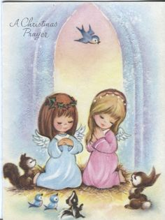 Vintage Christmas Card - Angels with Woodland Animals - Mica Glitter