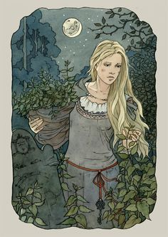 ...But when she began the seventh she found she had no more flax. She knew that the nettles she wanted to use grew in the churchyard, and th...