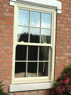 uPVC Vertical Sliding Sash Window in cream with authentic 'plant-on' Georgian… Upvc Sash Windows, Porch Windows, Front Doors With Windows, Timber Windows, Bungalow Extensions, House Extensions, House Front Door, House Doors, Georgian Windows