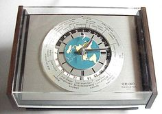 Vintage Seiko World Time Desk or Wall Clock.