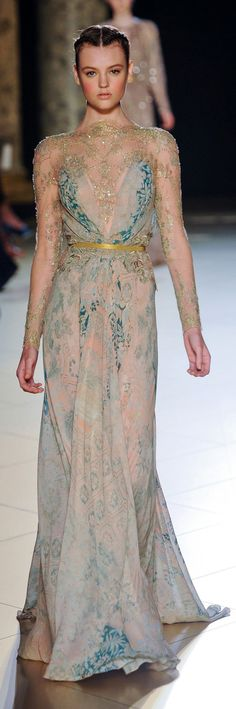 Elie Saab gown. Long slim sleeves, shoulders, and front inset of gold-beaded sheer. Rest of the dress of a softened pastel peaches and blue floral pattern light fabric. Thin gold belt and scalloped lace at waist.