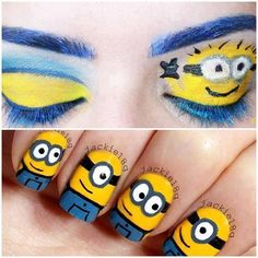 Minion minions despicable me nails eyes makeup