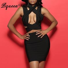 Bqueen 2017 New Black Crisscross Halter Hollow Out Sexy Celebrity Style Bandage Dress 2 Piece Sets Suits