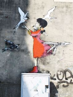 Piazza Castello, a Padova ospita da tempo Lana, l'amica indiscussa di Conan dopo… 3d Street Art, Street Art Graffiti, Street Artists, Graffiti Wall Art, Realistic Drawings, Chalk Art, Land Art, Banksy, Urban Art