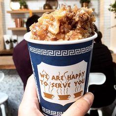 Frozen Greek Yogurt with Baklava Crumbles & Honey Syrup 🍦 Lunch run to @souvlasf with @allie.eats 📸  #eeeeeats #froyo #souvlasf #lunch #dessertfirst