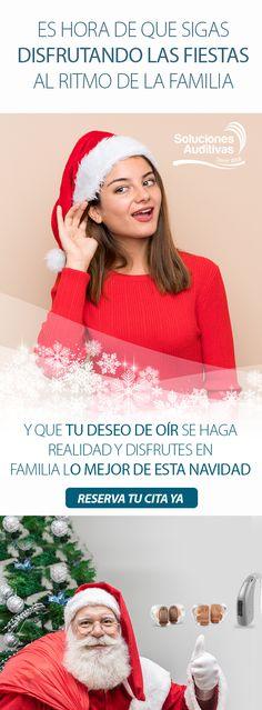 Es hora de que sigas disfrutando las fiestas al ritmo de la familia, y que tu deseo de oír se haga realidad y disfrutes en familia lo mejor de esta navidad. Reserva tu cita YA Contáctanos Tel: +57(1) 6110808   WhatsApp: 300 5260573 Crochet Hats, Quote, Wish, Fiestas, Get Well Soon, Xmas, Knitting Hats