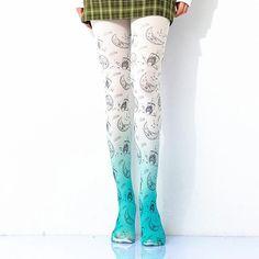 [leggycozy] Kawaii Cartoon Celestial Pattern Gradient Print Pantyhose Stockings, Kawaii, Celestial, Cartoon, Pattern, Fashion, Moda, Kawaii Cute, Fashion Styles