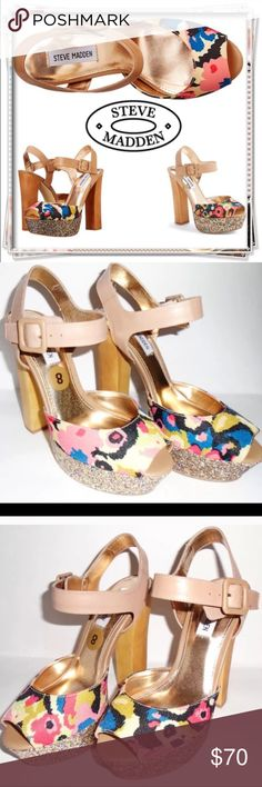 "STEVE MADDEN Jillyy 8 Glitter Platform Shoe Heels Product: Steve Madden Jilly Canvas Platform Sandal  Condition: New without box Size: 8.5 Color: Multi Color Product Detail: Floral design 5 1/2"" Heel Glitter detail Adjustable ankle strap with buckle closure Peep-toe silouette Man-made lining Lightly padded footbed Steve Madden Shoes Heels"