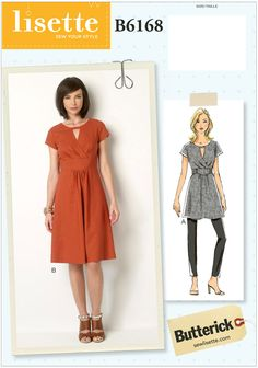 Misses Tunic and Dress Butterick Sewing Pattern No. 6168.