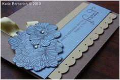 "What I used: Papertrey Ink: Bitty Box Basics card, Lemon tart card/ribbon, ""In Bloom"" clear stamp set, Kraft card. Memento Rich Cocoa ink, adhesive gems, EK Success puch, Photo corner punch."