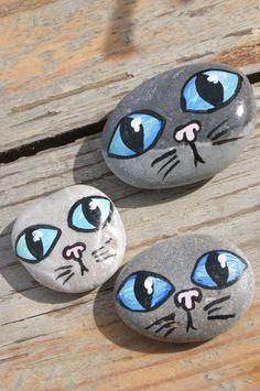 piedras decoradas miau: