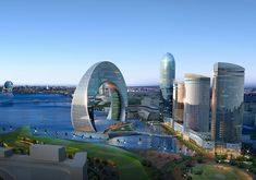 "Baku - When completed in 2015, Hotel Crescent will stand on the banks of the Caspian Sea, its 33-stories housed in a vast, down-turned crescent. A sister project was proposed called the Full Moon Hotel that would have brought something resembling the Death Star from ""Star Wars"" to the Caspian coastline. WOW!!"