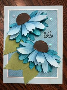 Creative Birthday Cards, Birthday Cards For Women, Creative Cards, Cricut Cards, Stampin Up Cards, Flower Cards, Paper Flowers, Feather Cards, Honey Bee Stamps