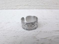 Hand stamped silver aluminum cuff ring free shipping by Amayeli, $10.00