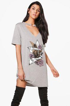 boohooO-Ring V Neck Choker T-Shirt Dress - grey Gray Dress, Dress Up, Shirt Dress, Neck Choker, Latest T Shirt, Bodycon Fashion, Office Looks, Ladies Dress Design, Dress Collection