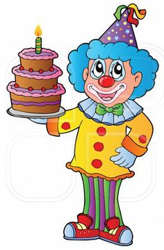 Cartoon clown with cake - vector illustration. Photo by Klara Viskova on Mostphotos. Circus Clown, Circus Party, Clown Images, Cake Vector, Decoupage, Doodle Cartoon, Send In The Clowns, Photo Images, Evil Clowns