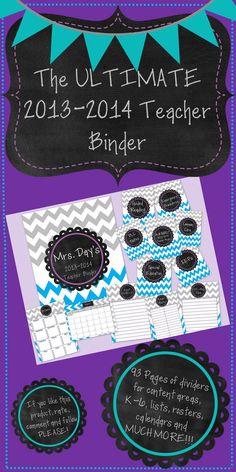 The Ultimalte 2013-2014 Teacher Binder. Super cute blue and grey chevron theme!!! Free until 6/19 at noon central time!    http://www.teacherspayteachers.com/Product/The-Ultimate-and-Editable-Grey-Blue-Chevron-Teacher-Binder-2013-2014-733639