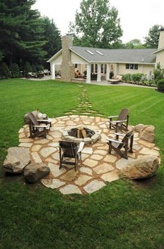 fire pit with flagstone
