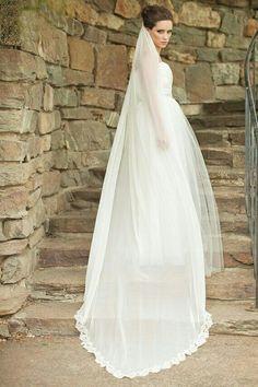 Chapel Length Silk Chiffon Veil With Alençon Lace Trim