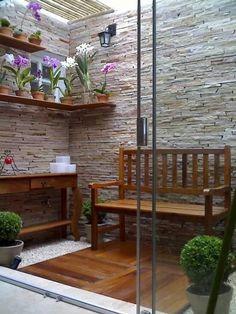 51 New Ideas For Exterior De Casas Patios Outdoor Rooms, Outdoor Living, Outdoor Furniture Sets, Outdoor Decor, Wood Furniture, Exterior Design, Interior And Exterior, Interior Modern, Indoor Garden