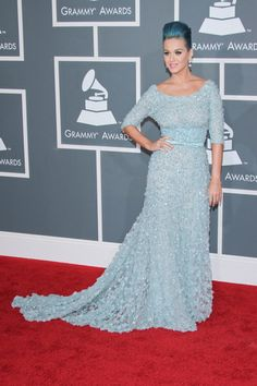Katy Perry in Elie Saab Haute Couture  2012 Grammy Awards Red Carpet