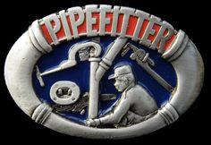 Pipefittters Plumbers Pipes Workers Tools Pewter Belt Buckle Boucle de Ceinture