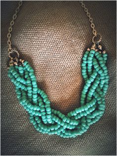 Mint Green Handmade Beaded Long Necklace by AdornmentsbyGwen, $32.00