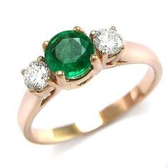 Anzor Jewelry - 14k Rose Gold Genuine Colombian Emerald & Diamond ...