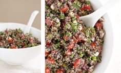 QUINOA TABOULI (black or red quinoa, water, cherry tomatoes, red pepper, cucumber. curly parsley, mint leaves, red onion, lemons, olive oil, garlic gloves, dried oregano, salt and pepper, white wine vinegar or red wine vinegar)