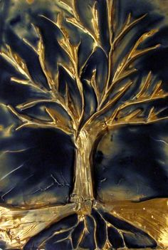 Midnight Over Tree  Metal Plate with Wax in Relief by Tirz16