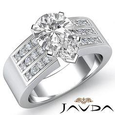 Pear Cut 3 Row Channel Set Diamond Engagement Ring EGL E VS1 Platinum 1 31 Ct | eBay