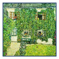Art Nouveau Gustav Klimt's Forsthaus in Weissenbach Am Attersee Counted Cross Stitch or Counted Needlepoint Pattern
