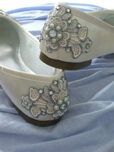 Ivory Blooms Bridal Ballet Flats Wedding Shoes  by BeholdenBridal, $175.00