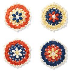 モチーフ1枚約30分六角形のモチーフで配色の妙を楽しむ。|編んで広がるカラフルパターン 万華鏡みたいなかぎ針編みモチーフの会