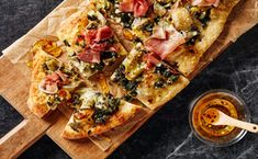 Artichoke, Spinach and Prosciutto Flatbread with Spicy Honey / Photo by Chelsea Kyle, Prop and Food Styling by Ali Nardi