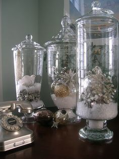Invest in glass apothecary jars - decorate with seasonal and holiday fillings, candles, craft supplies, etc.