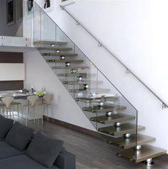 moderne treppen designs glas geländer stahl kugel