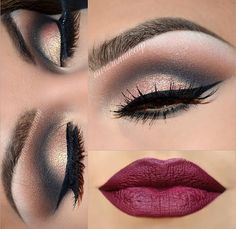 Glam smokey eye and winged eyeliner & vamp lip
