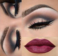 Glam smokey eye and winged eyeliner & vamp lip