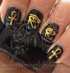 Gold Eye of Ra/ Horus Egyptian Cross Nail Water Decals Transfers Wraps
