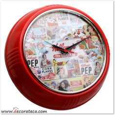 "Relojes de pared redondos retro Kellogg's ""Collage"" rojo. Decoración de cocinas retro vintage cereales Kellogg's - WWW.DECORATECA.COM"