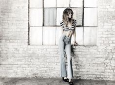 P.S. Erin Wasson, Texas tie front stripe cropped top, $25, available at Pac Sun.P.S. Erin Wasson,zip front super flare jeans, $55, available at Pac Sun.