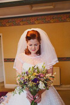 vintage wedding bride hair, image by http://www.hannahmillardphotography.com/