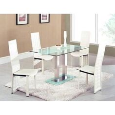 Modern dining table features a Glass dining table with a contemporary dining chairs. Glass Dinning Table, Dining Table In Kitchen, Loft Kitchen, Dining Tables, Dining Area, Kitchen Decor, Dining Room Furniture Sets, Dining Room Chairs, Furniture Usa