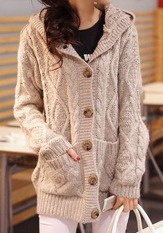 Perfect cozy knit hooded sweater coat for days like today! #women #fall #fashion #trend