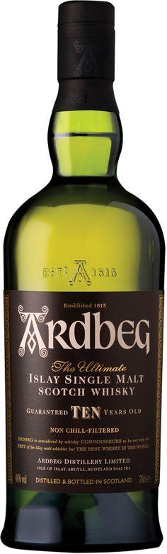 "Islay Single Malt Scotch whisky ""Ardbeg 10 Years Old"" - Ardbeg distillery, Islay, Escocia, Reino Unido Wine Guy, Alcohol, Smoked Fish, Single Malt Whisky, 10 Year Old, 10 Years, Scotch Whiskey, Distillery, Bourbon"