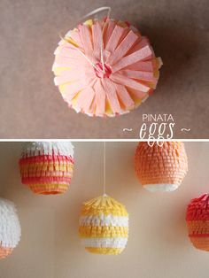 Piñatas con forma de huevos de Pascua, via blog.fiestafacil.com / Easter egg piñatas via blog.fiestafacil.com