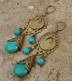 Vintage Egyptian Scarab Earrings by vintagevixons on Etsy, $70.00