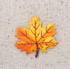 Iron On Embroidered Applique Patch Small Yellow/Orange Tree Leaf Fall Leaves